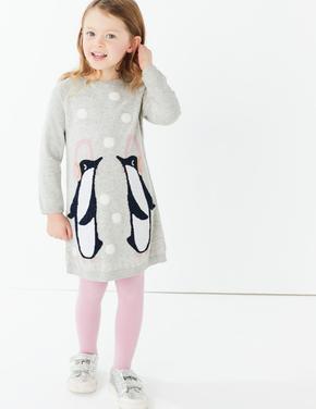 Kız Çocuk Gri Penguen Desenli Elbise ve Çorap Seti