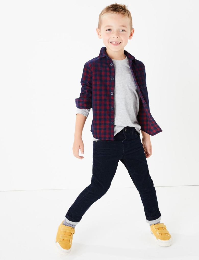 Erkek Çocuk Lacivert Kadife Dokulu Pantolon