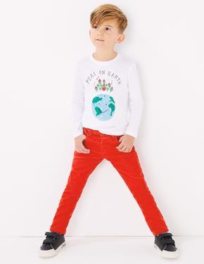 Erkek Çocuk Kırmızı Kadife Dokulu Pantolon