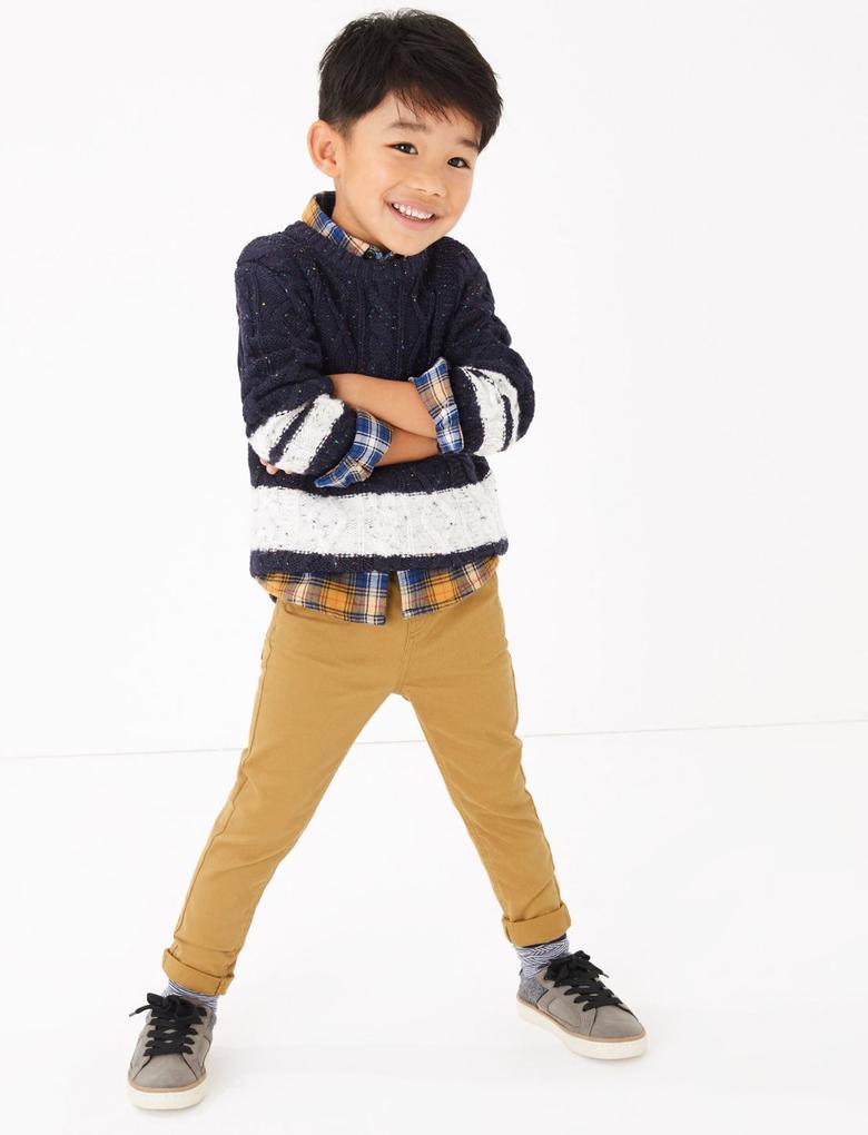 Erkek Çocuk Lacivert Şeritli Kazak
