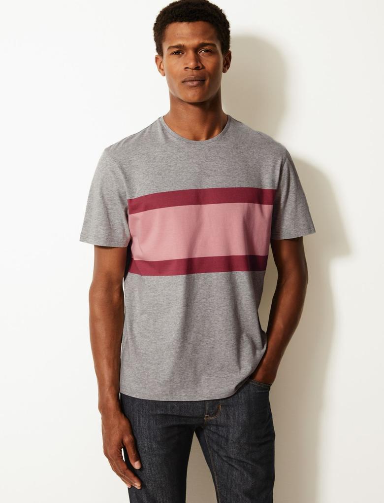 Erkek Gri Renk Bloklu Kısa Kollu T-Shirt