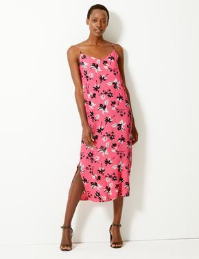 Çiçek Desenli Slip Elbise