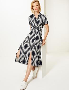 Kadın Lacivert Kısa Kollu Midi Elbise