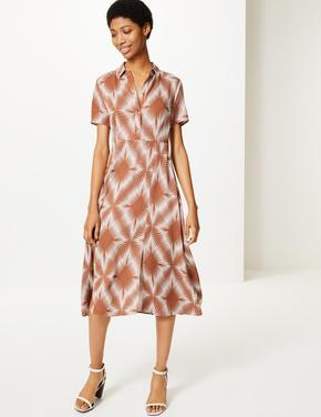 Kadın Bej Kısa Kollu Midi Elbise