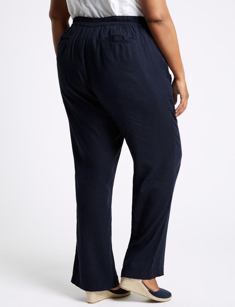 Kadın Lacivert Wide Leg Pantolon