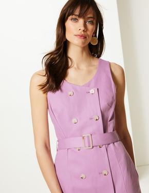 Kadın Pembe Önden Düğmeli Elbise