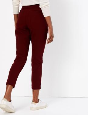 Kırmızı Straight Leg Yüksek Belli Pantolon