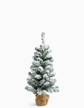 Beyaz 90 cm Işıklı ve Karlı Çam Ağacı