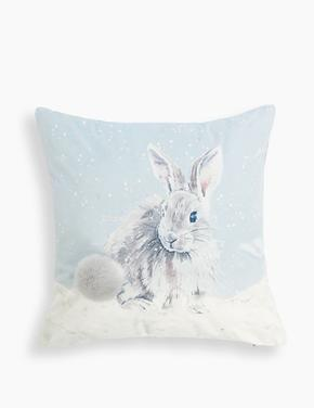 Gri Tavşan Desenli Yastık