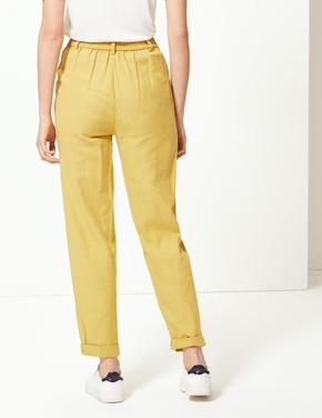 Kahverengi Wide Leg Peg Pantolon
