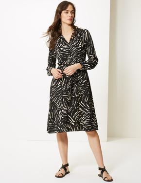 Kadın Siyah Desenli Uzun Kollu Gömlek Midi Elbise