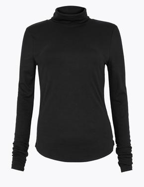 Kadın Siyah Balıkçı Yaka Fitilli Uzun Kollu T-Shirt