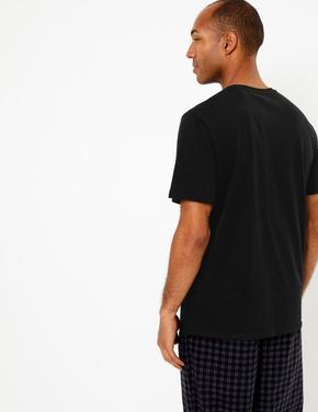 Erkek Siyah Karanlıkta Parlayan Desenli Pijama Üstü