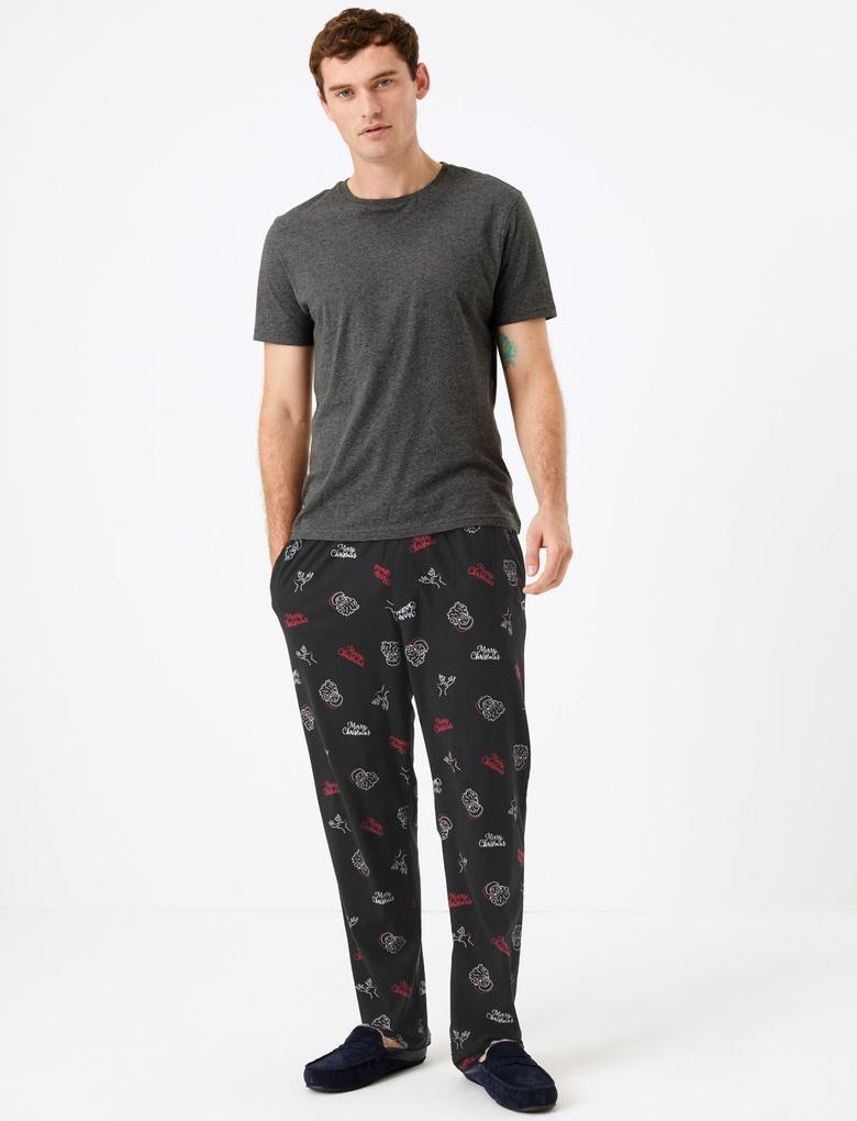 Erkek Siyah Yılbaşı Temalı Polar Pijama Altı