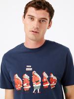 Erkek Lacivert Santa Desenli Pijama Üstü