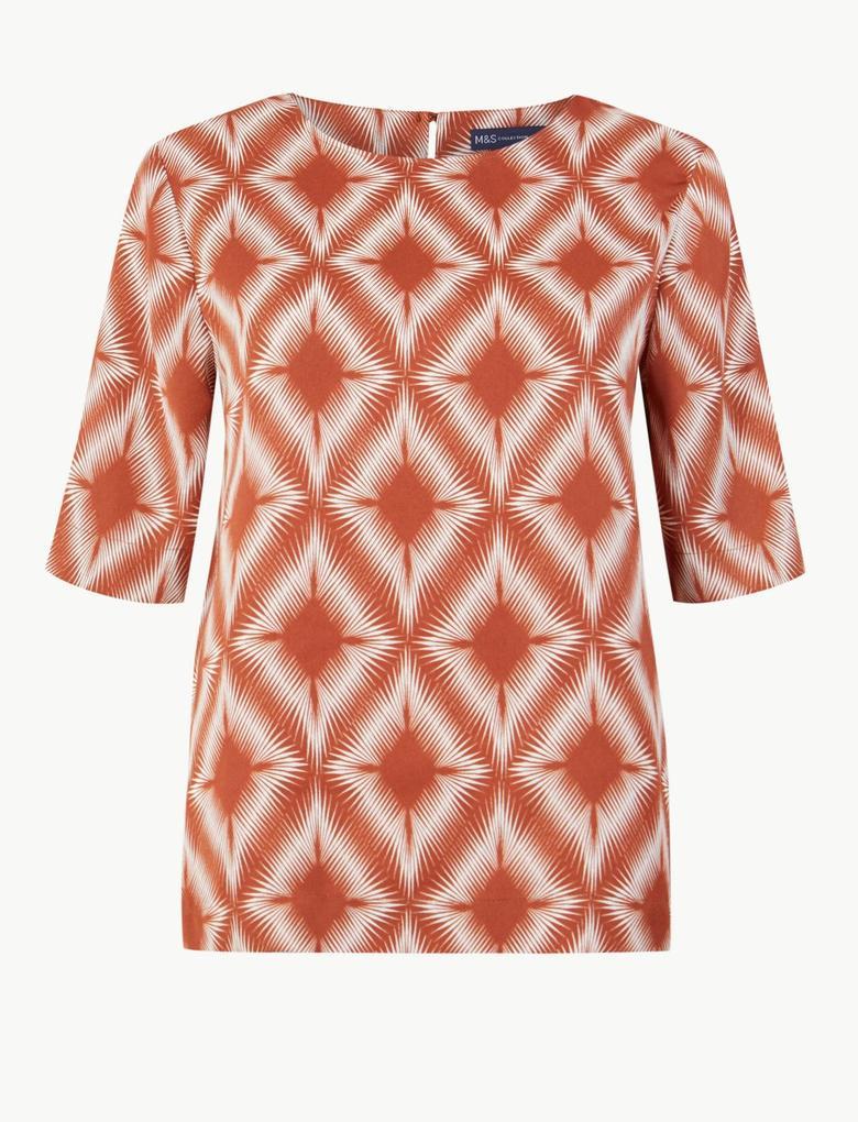 Kadın Bej Geometrik Desenli Kısa Kollu Bluz