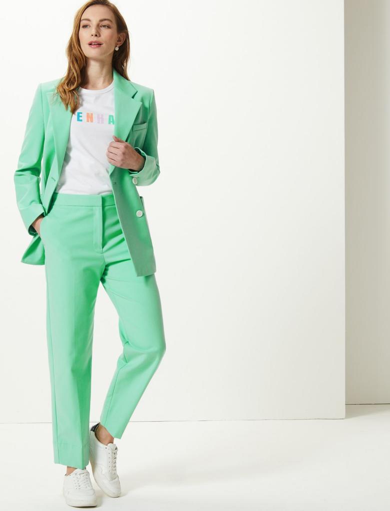 Kadın Yeşil Kruvaze Ceket