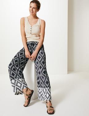 Kadın Krem Geometrik Desenli Wide Leg Pantolon