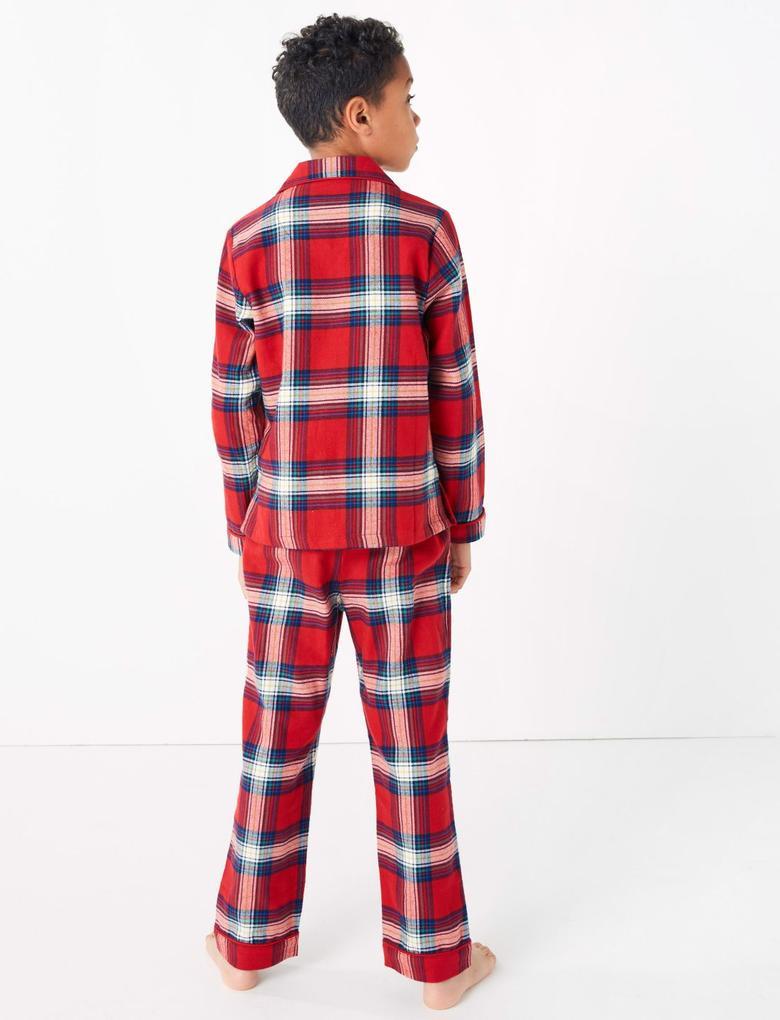 Çocuk Kırmızı Ekose Pijama Takımı