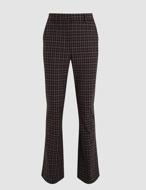 Kadın Kahverengi Slim Ekose Pantolon
