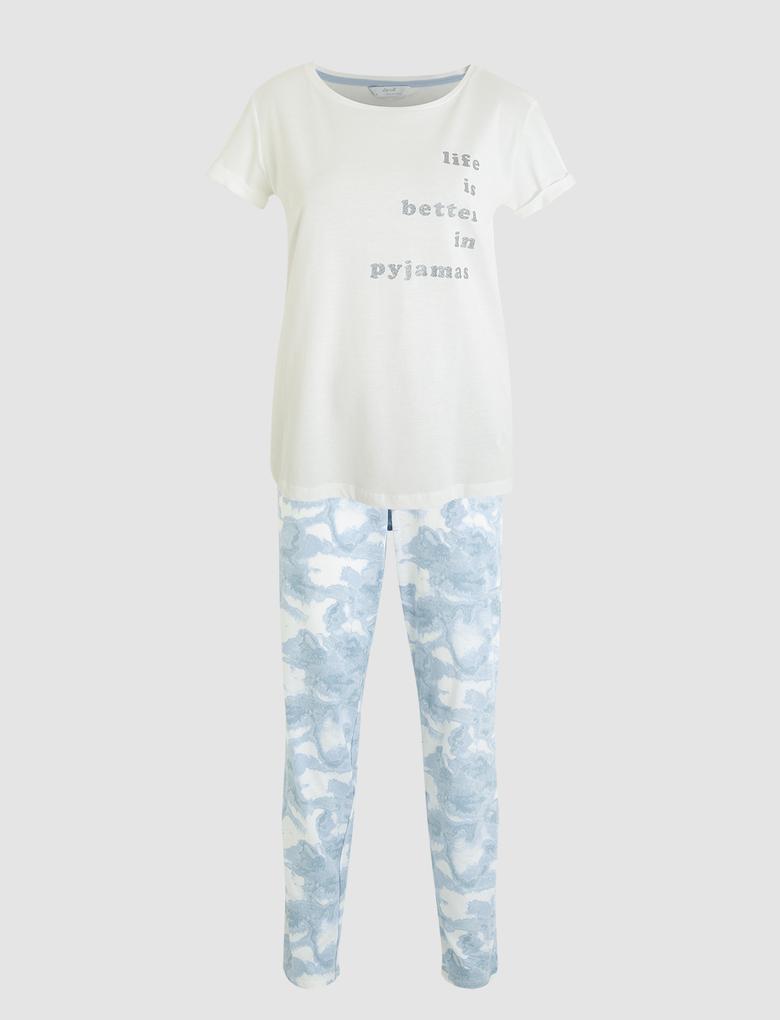 Kadın Beyaz Sloganlı Kısa Kollu Pijama Takımı
