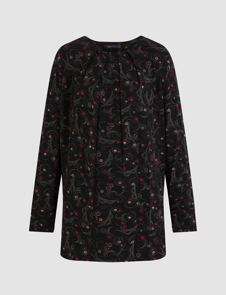 Kadın Pembe Uzun Kollu Drapeli Bluz
