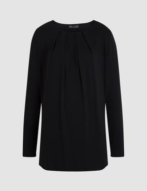 Kadın Siyah Uzun Kollu Drapeli Bluz