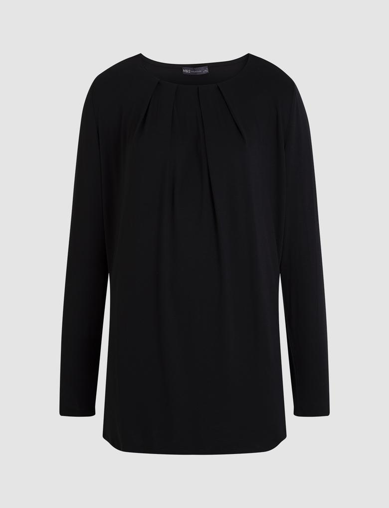 Siyah Uzun Kollu Drapeli Bluz