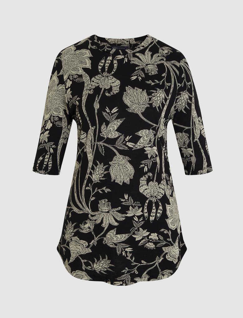 Kadın Siyah Boğazlı Fitted Bluz