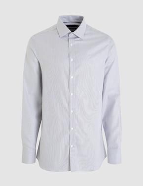Mor Uzun Kollu Slim Fit Gömlek