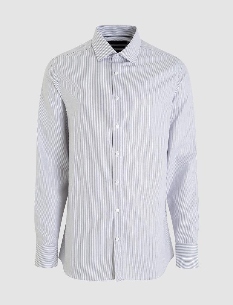 Erkek Mor Uzun Kollu Slim Fit Gömlek