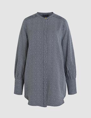 Kadın Lacivert Plise Bluz