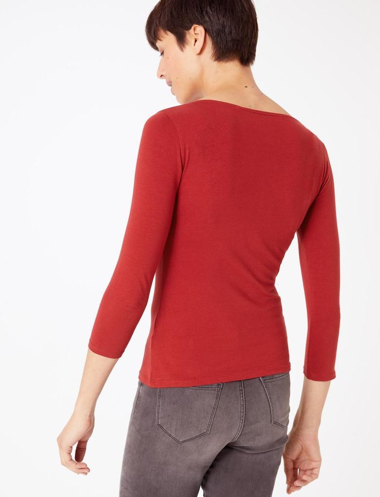 Kadın Kırmızı Kayık Yaka Uzun Kollu T-Shirt