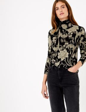 Kadın Siyah Uzun Kollu Çiçek Desenli Bluz