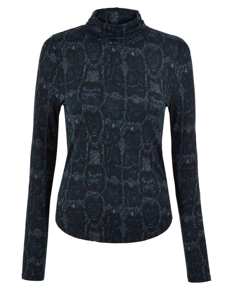 Uzun Kollu Yılan Derisi Desenli Bluz