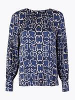 Kadın Mavi Yılan Derisi Desenli Bluz