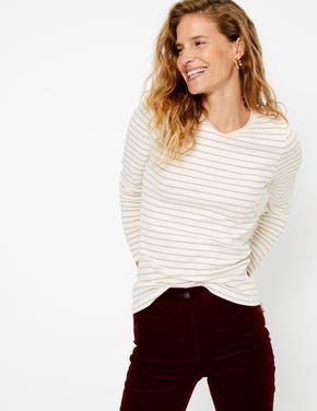 Krem Simli Çizgili Uzun Kollu T-Shirt