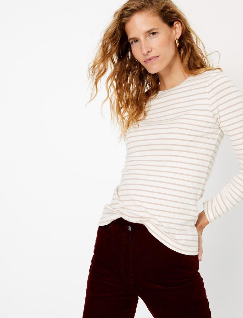 Simli Çizgili Uzun Kollu T-Shirt