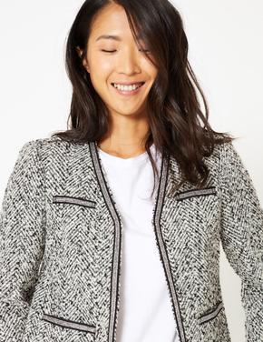 Kadın Siyah Dokulu Blazer Ceket