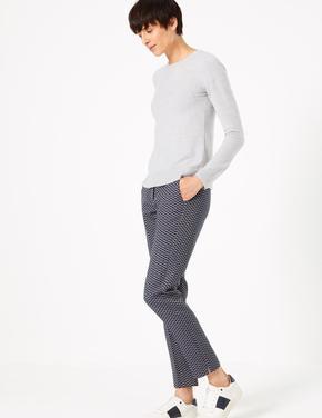 Kadın Lacivert Jakarlı Slim Ankle Pantolon