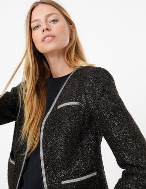 Pırıltılı Tüvid Blazer Ceket