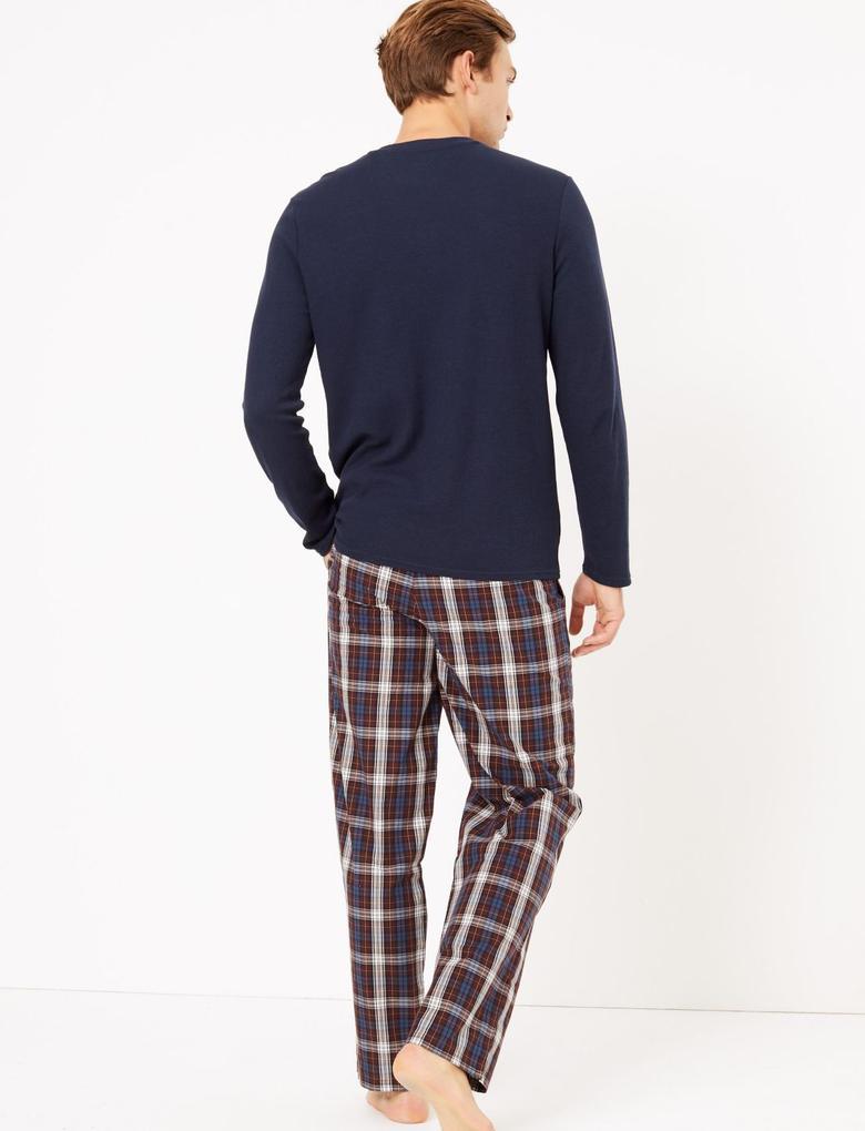 Erkek Bordo 2'li Desenli Pijama Altı Seti
