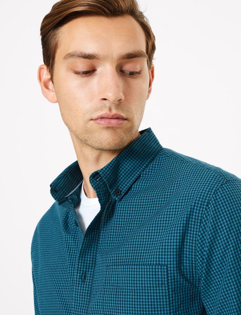Erkek Mavi Saf Pamuklu Ekose Gömlek