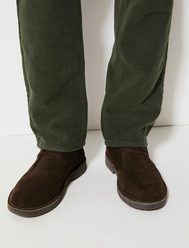 Erkek Yeşil Regular Fit Italian Moleskin Pantolon