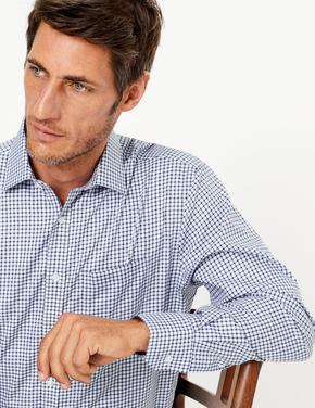 Erkek Lacivert Ütü Gerektirmeyen Ekose Gömlek