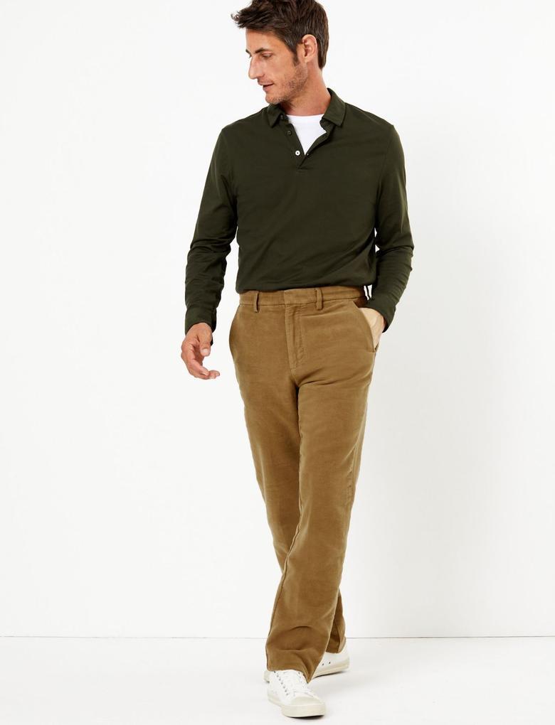 Erkek Kahverengi Kadife Görünümlü Chino Pantolon