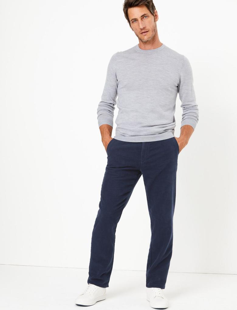 Erkek Lacivert Kadife Görünümlü Chino Pantolon