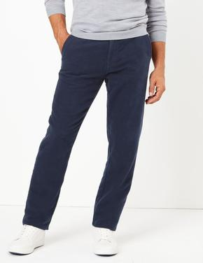 Lacivert Kadife Görünümlü Chino Pantolon
