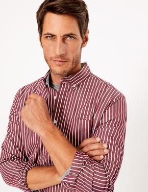 Erkek Bordo Saf Pamuklu Çizgili Gömlek
