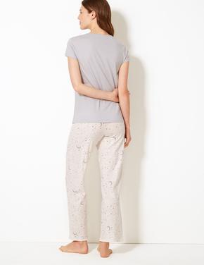Kadın Bej Desenli Kısa Kollu Pijama Takımı